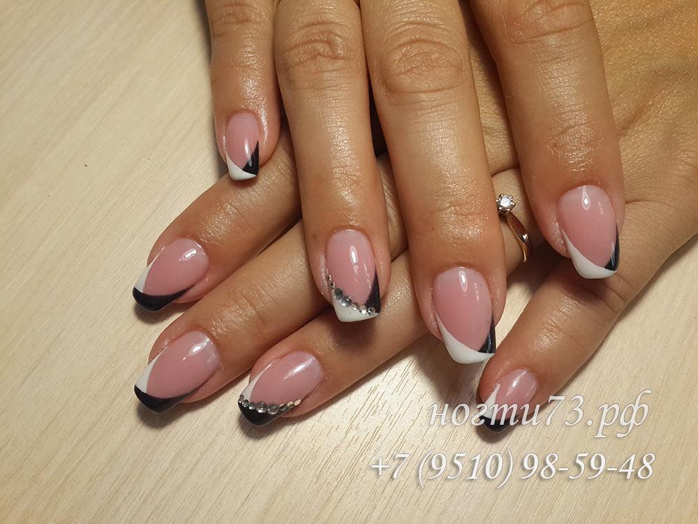 Фото ногти черно белый френч нарощенные ногти