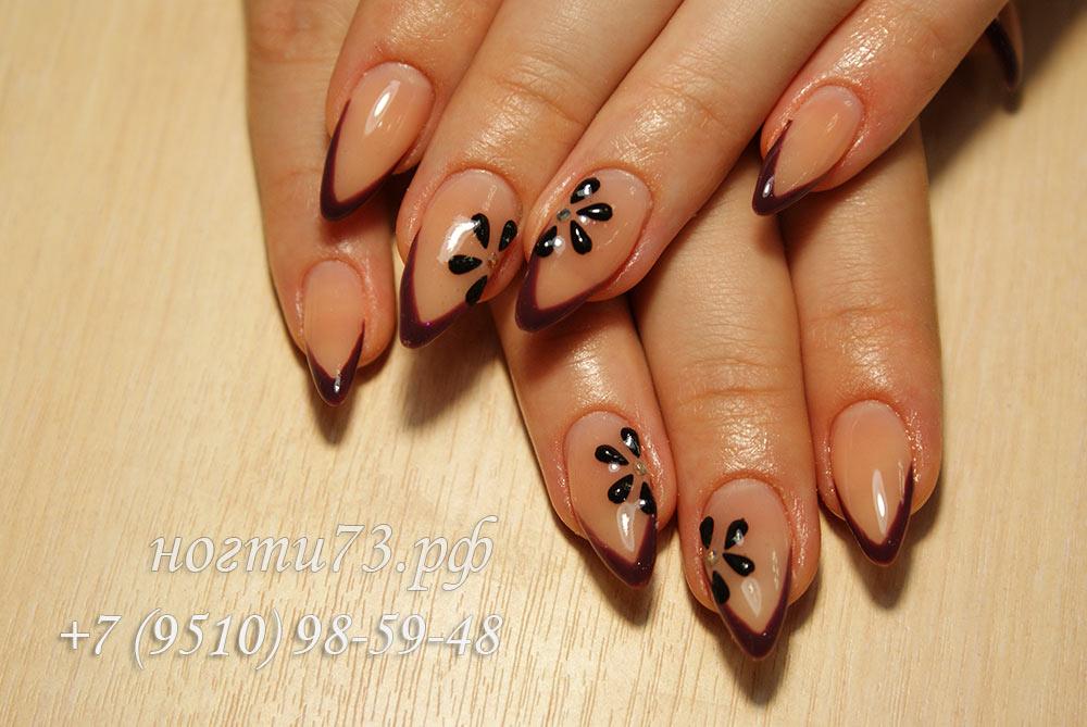 Френч миндалевидных ногтях