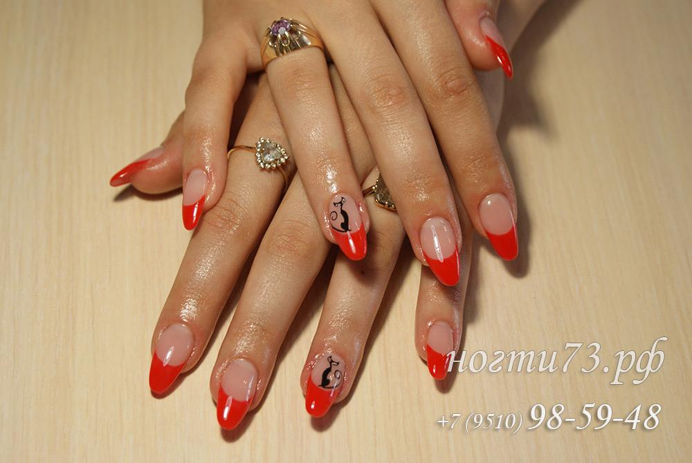 красный френч фото ногтей